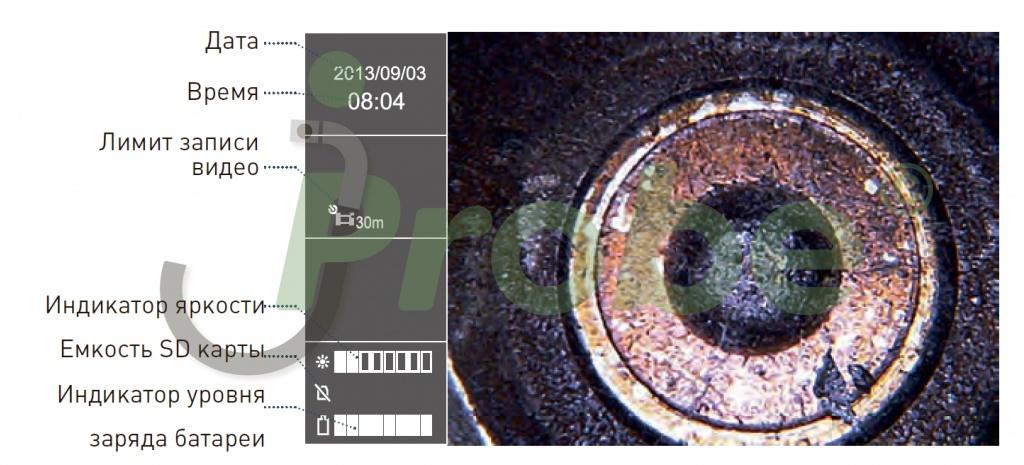 Отображение важной информации на дисплее видеоэндоскопа jProbe VE